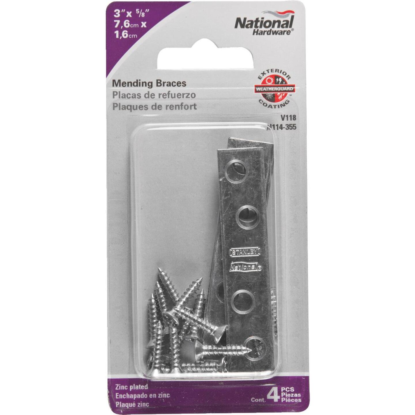 National Catalog 118 3 In. x 5/8 In. Zinc Steel Mending Brace (4-Count) Image 2