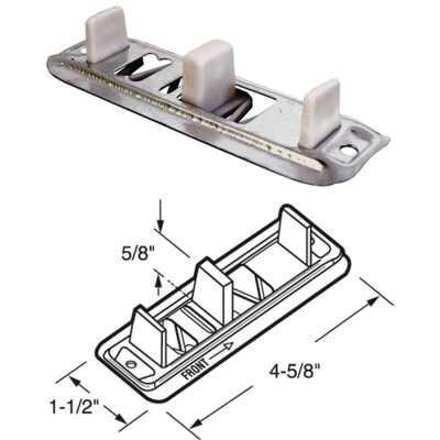 Prime-Line Adjustable Steel Base Bypass Door Bottom Guide (2 Count)