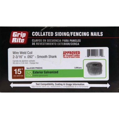 Grip-Rite 15 Degree Wire Weld Hot-Dipped Galvanized Coil Siding Nail, 2-3/16 In. x .092 In. (3000 Ct.)