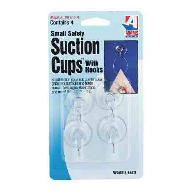 Adams 1-1/8 In. 1 Lb. Holding Capacity Suction Cup with Metal Hook (4-Pack)
